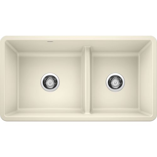 """Precis 33"""" Granite 60/40 Double-Basin Undermount Kitchen Sink (with Low-Divide) in Biscuit (33"""" x 18"""" x 9.5"""")"""