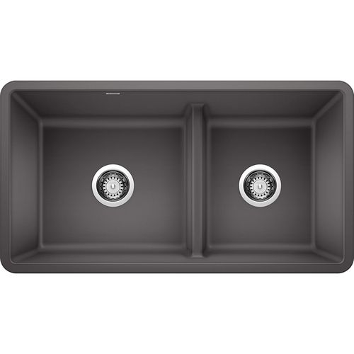 """Precis 33"""" Granite 60/40 Double-Basin Undermount Kitchen Sink (with Low-Divide) in Cinder (33"""" x 18"""" x 9.5"""")"""