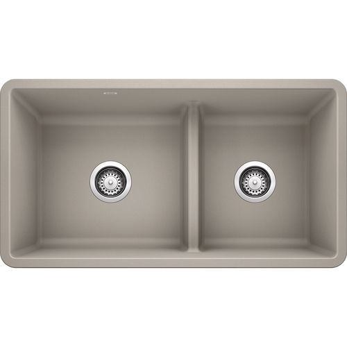 """Precis 33"""" Granite 60/40 Double-Basin Undermount Kitchen Sink (with Low-Divide) in Concrete Grey (33"""" x 18"""" x 9.5"""")"""