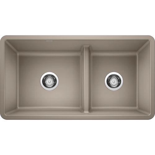 """Precis 33"""" Granite 60/40 Double-Basin Undermount Kitchen Sink (with Low-Divide) in Truffle (33"""" x 18"""" x 9.5"""")"""