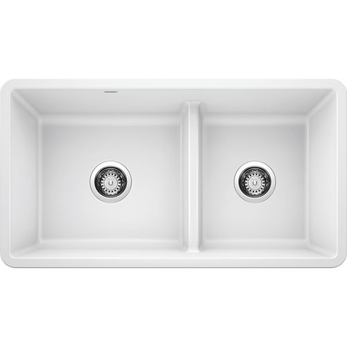 """Precis 33"""" Granite 60/40 Double-Basin Undermount Kitchen Sink (with Low-Divide) in White (33"""" x 18"""" x 9.5"""")"""