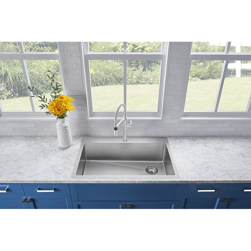 """Quatrus 33"""" Single-Basin Dual-Mount Laundry Sink in Stainless Steel (33"""" x 22"""" x 9"""")"""