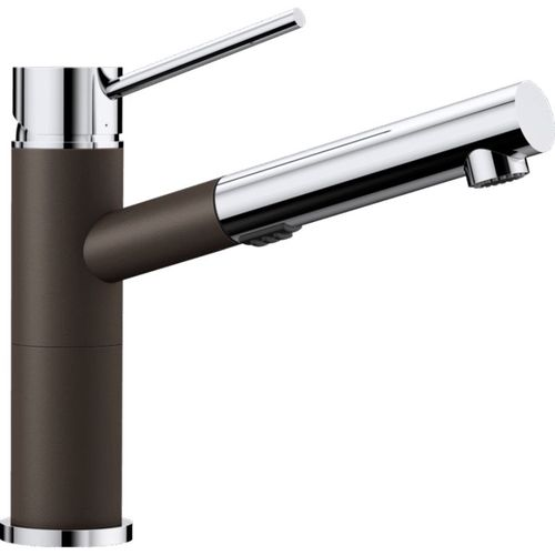 "Alta Single-Handle Pull-Out Kitchen Faucet in Cafe Brown / Polished Chrome - 8.5"" High"