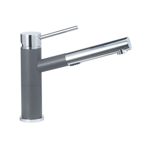 """Alta Single-Handle Pull-Out Kitchen Faucet in Cinder / Polished Chrome - 8.5"""" High"""