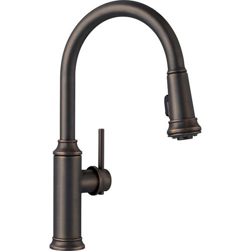 "Empressa Single-Handle Pull-Down Kitchen Faucet in Oil Rubbed Bronze - 16.38"" High"