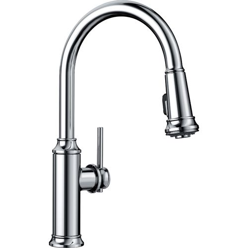 """Empressa Single-Handle Pull-Down Kitchen Faucet in Polished Chrome - 16.38"""" High"""