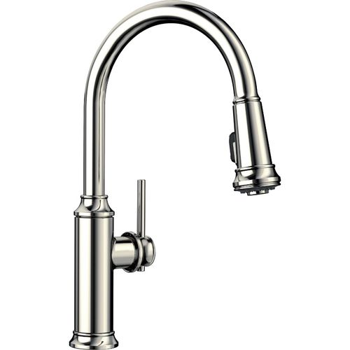 """Empressa Single-Handle Pull-Down Kitchen Faucet in Polished Nickel - 16.38"""" High"""