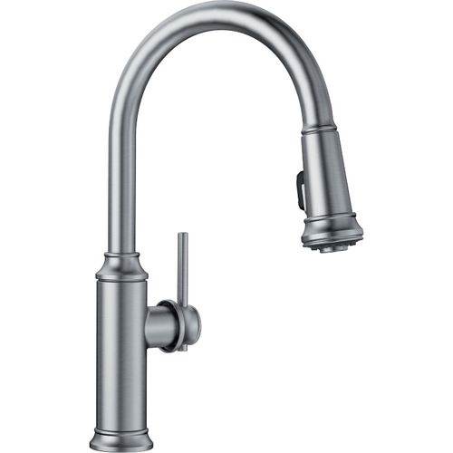 "Empressa Single-Handle Pull-Down Kitchen Faucet in Stainless - 16.38"" High"