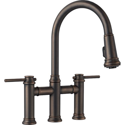 "Empressa Two-Handle Pull-Down Kitchen Faucet in Oil Rubbed Bronze - 16.38"" High"