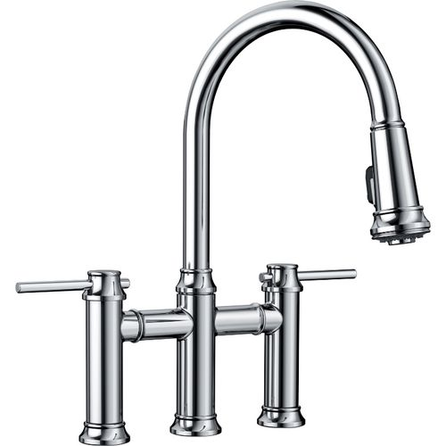"""Empressa Two-Handle Pull-Down Kitchen Faucet in Polished Chrome - 16.38"""" High"""
