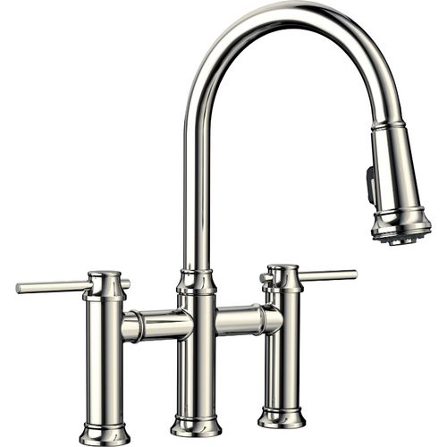 """Empressa Two-Handle Pull-Down Kitchen Faucet in Polished Nickel - 16.38"""" High"""