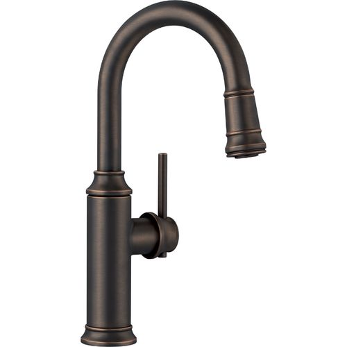 """Empressa Single-Handle Pull-Down Kitchen Faucet in Oil Rubbed Bronze - 14.38"""" High"""