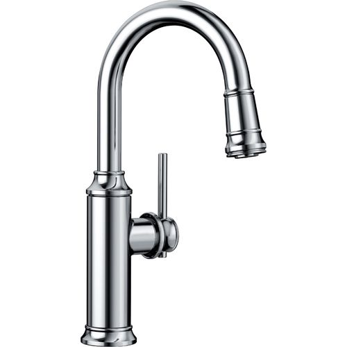 "Empressa Single-Handle Pull-Down Kitchen Faucet in Polished Chrome - 14.38"" High"