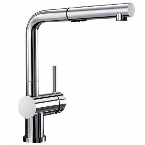 "Linus Single-Handle Pull-Out Kitchen Faucet in Polished Chrome - 11"" High"
