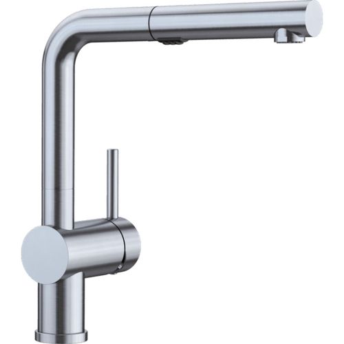 """Linus Single-Handle Pull-Out Kitchen Faucet in Satin Nickel - 11"""" High"""