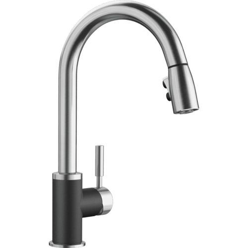 "Sonoma Single-Handle Pull-Down Kitchen Faucet in Anthracite / Stainless - 15.5"" High"
