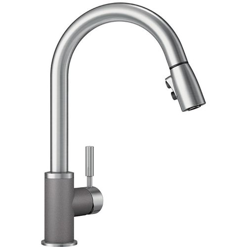 "Sonoma Single-Handle Pull-Down Kitchen Faucet in Metallic Grey / Stainless - 15.5"" High"