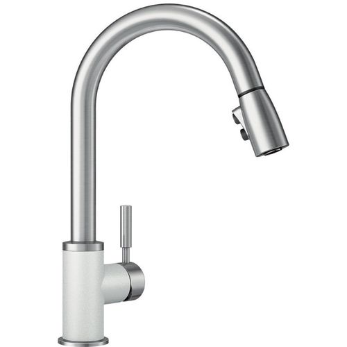 """Sonoma Single-Handle Pull-Down Kitchen Faucet in White / Stainless - 15.5"""" High"""
