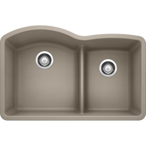 """Diamond 32"""" Granite 60/40 Double-Basin Undermount Kitchen Sink (with Low-Divide) in Biscuit (32"""" x 20.84"""" x 9.5"""")"""
