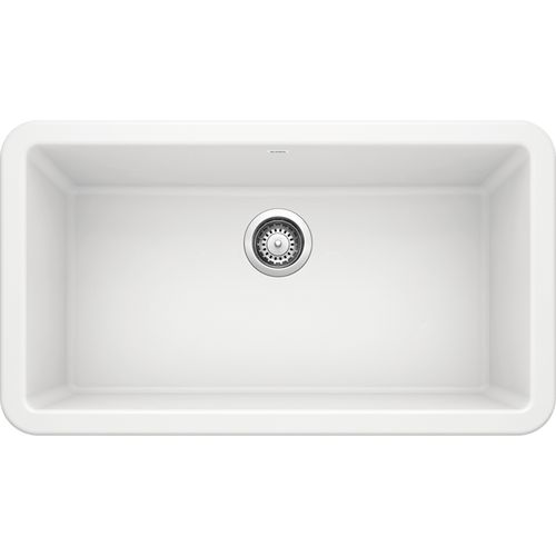 """Diamond 32"""" Granite 60/40 Double-Basin Undermount Kitchen Sink (with Low-Divide) in White (32"""" x 20.84"""" x 9.5"""")"""