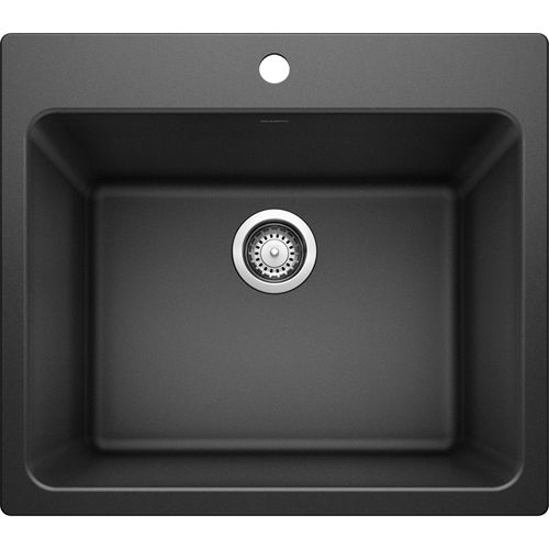 """Liven 25"""" x 22"""" x 12"""" Single-Basin Dual-Mount Laundry Sink in Anthracite"""