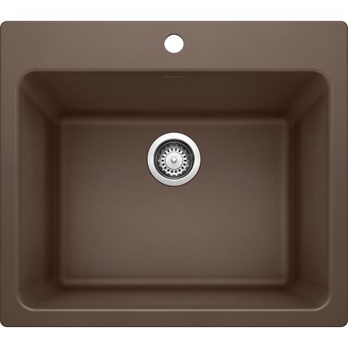 """Liven 25"""" x 22"""" x 12"""" Single-Basin Dual-Mount Laundry Sink in Cafe Brown"""