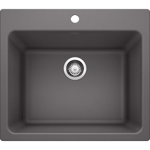 """Liven 25"""" x 22"""" x 12"""" Single-Basin Dual-Mount Laundry Sink in Cinder"""
