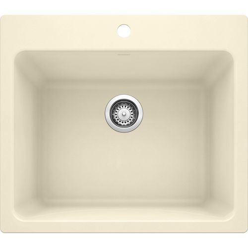 """Liven 25"""" x 22"""" x 12"""" Single-Basin Dual-Mount Laundry Sink in Biscuit"""
