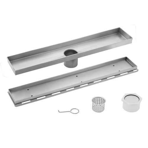 """26"""" Stainless Steel Square Grate Shower Drain (26"""" x 3.38"""" x 0.88"""")"""