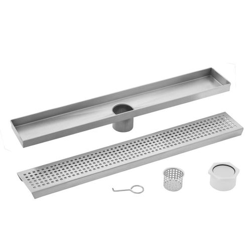 """30"""" Stainless Steel Square Grate Shower Drain (30"""" x 3.38"""" x 0.88"""")"""
