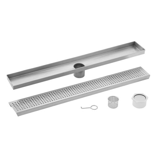 """36"""" Stainless Steel Square Grate Shower Drain (36"""" x 3.38"""" x 0.88"""")"""