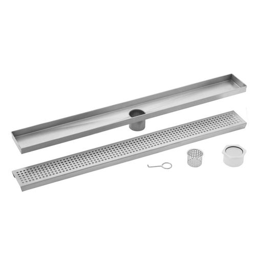 """40"""" Stainless Steel Square Grate Shower Drain (40"""" x 3.38"""" x 0.88"""")"""