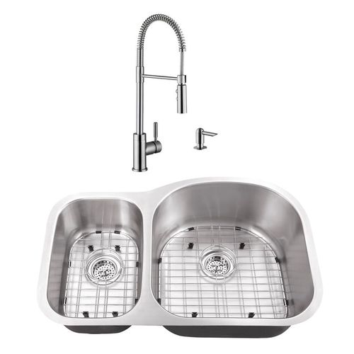 """31.5"""" 16G 30/70 Eurostyle Stainless Steel Kitchen Sink and Industrial Faucet"""