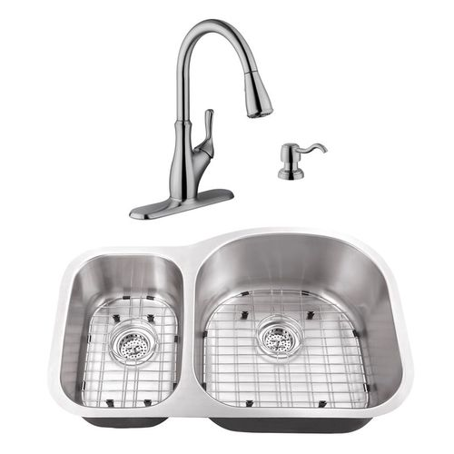 """31.5"""" 16G 30/70 Eurostyle Stainless Steel Kitchen Sink and Transitional Faucet"""