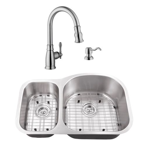 """31.5"""" 16G 30/70 Eurostyle Stainless Steel Kitchen Sink and Traditional Faucet"""