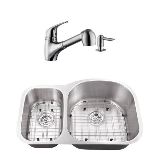 """31.5"""" 16G 30/70 Eurostyle Stainless Steel Kitchen Sink and Low Profile Faucet"""