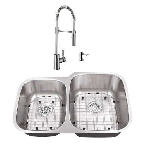 """32"""" 16G 40/60 Kitchen Sink and Industrial Faucet"""
