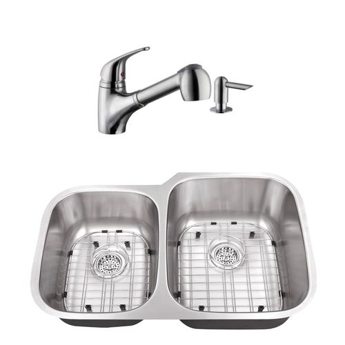 """32"""" 16G 40/60 Kitchen Sink and Low Profile Faucet"""
