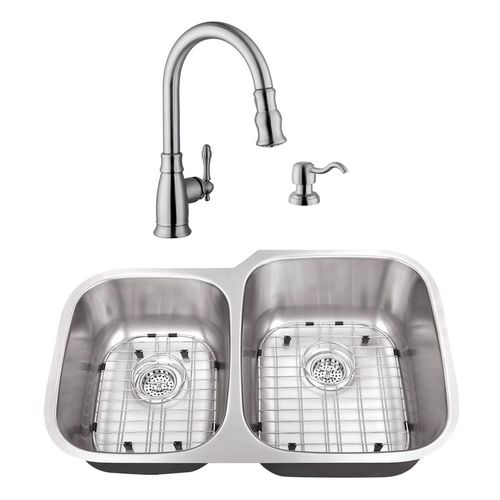"""32"""" 16G 40/60 Kitchen Sink and Traditional Faucet"""