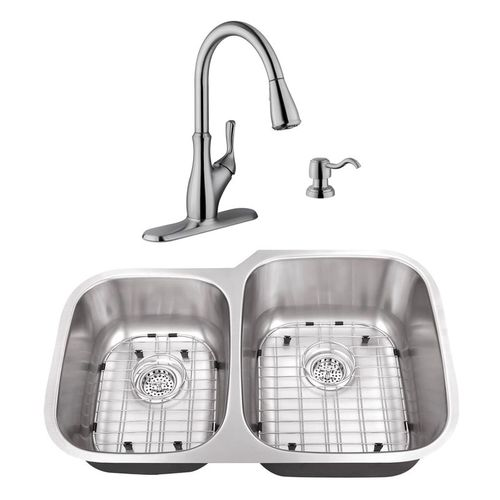 """32"""" 16G 40/60 Kitchen Sink and Transitional Faucet"""