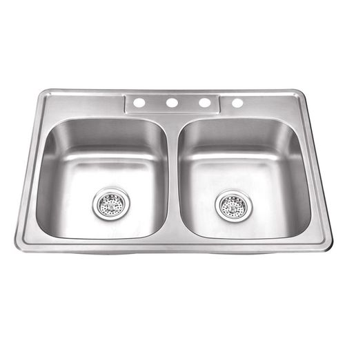 """33"""" 50/50 Double-Basin Drop-In Kitchen Sink in Brushed Stainless Steel (33"""" x 22"""" x 8.25"""")"""