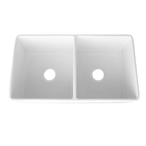 """33"""" Fireclay 50/50 Double-Basin Undermount Kitchen Sink (with Mounting Hardware) in Gloss White (33"""" x 18"""" x 10"""")"""