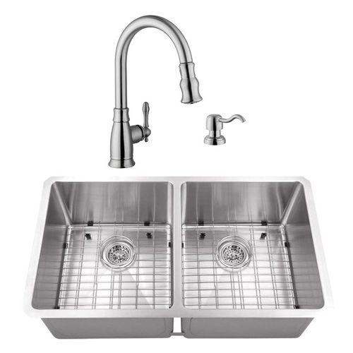 """32"""" 16G 50/50 Radius Corner Stainless Steel Kitchen Sink and Traditional Faucet"""