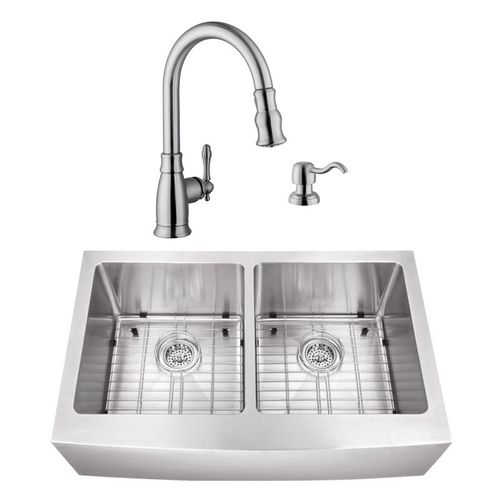 """32.88"""" 16G 50/50 Undermount Apron-Front Kitchen Sink with Traditional Faucet"""