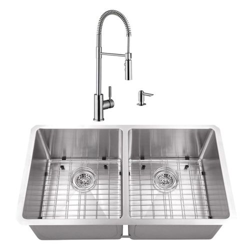 """32"""" 16G 50/50 Radius Corner Stainless Steel Kitchen Sink and Industrial Faucet"""
