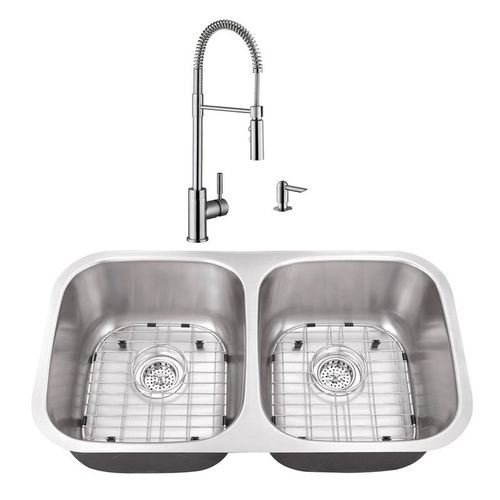"""32.25"""" 16G 50/50 Kitchen Sink and Industrial Faucet"""
