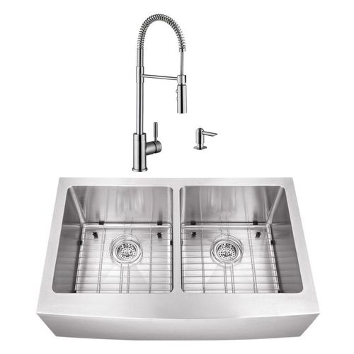 """32.88"""" 16G 50/50 Undermount Apron-Front Kitchen Sink with Industrial Faucet"""