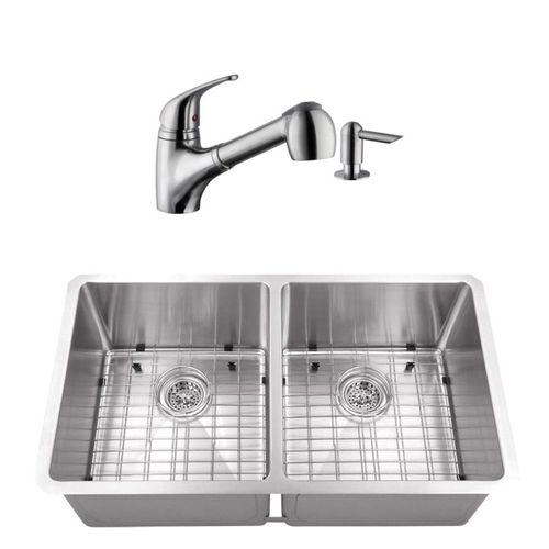 """32"""" 16G 50/50 Radius Corner Stainless Steel Kitchen Sink and Low Profile Faucet"""