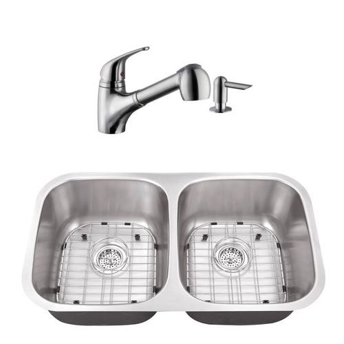"""32.25"""" 16G 50/50 Kitchen Sink and Low Profile Faucet"""