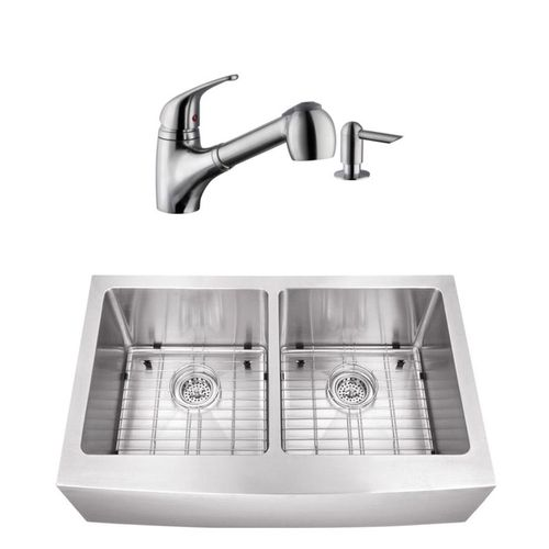 """32.88"""" 16G 50/50 Undermount Apron-Front Kitchen Sink with Low-Profile Faucet"""